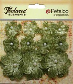 Petaloo - Textured Elements Collection - Floral Embellishments - Mini Burlap - Antique Green