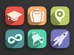 Flat Long Shadow Icons PSD Action & Examples