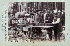 Ébarbeuse de pavés de bois en 1901