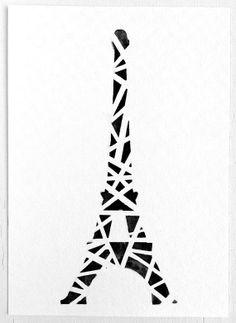 Original Geometric Eiffel Tower Watercolor Painting / by prettyinc
