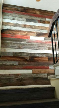 Salvage Solutions feature wall of random wood / diy pallet wood working project / rustic decor detail Ship Lap Walls, Wood Pallets, Pallet Wood, Diy Wood Projects, Cool Ideas, Wood Wall, Wall Design, Home Interior Design, Decoration