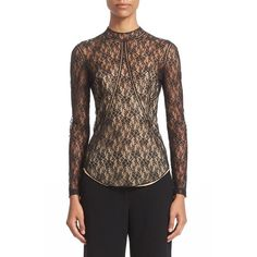 Women's Alexander Wang Floral Lace Top ($695) ❤ liked on Polyvore featuring tops, blouses, matrix, high neck lace blouse, floral lace blouse, high neck blouse, floral tops and striped top