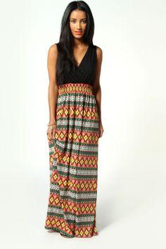 Elsa Jersey Bodice Aztec Skirt Maxi Dress