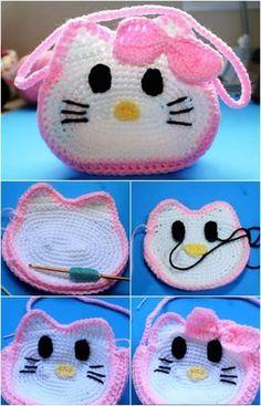 Crochet Hello Kitty's Bag Crochet Hello Kitty's Bag Bag Crochet, Crochet Shell Stitch, Crochet Handbags, Crochet Purses, Crochet Slippers, Crochet Crafts, Crochet Projects, Crochet Hello Kitty, Chat Hello Kitty