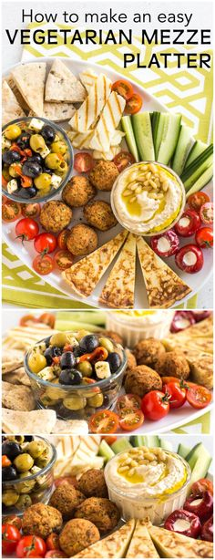 How to make an easy vegetarian mezze platter - with hummus, falafel, pitta bread, olives, and lots more! Such a great social dinner - serve it up with cocktails or sangria and let your friends dig in! #vegetarianmezze #mezzeplatter #falafel #hummus #dinnerparty #vegetariandinnerparty via @amuseyourbouche