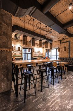 Star Burger is a restaurant designed by Kyiv-based Sergey Makhno Architects. Star Burger is our answer to the question . Pub Interior, Restaurant Interior Design, Shop Interior Design, Cafe Design, Food Design, Design Design, Decoration Restaurant, Deco Restaurant, Industrial Restaurant