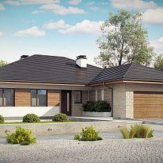 Projekt Z301. Parterowy dom z garażem na 2 auta, wygodnymi sypialniami i dużym tarasem.