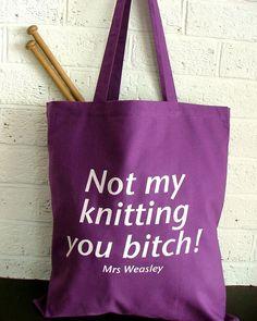 Large Knitting bag - Harry Potter  knitting bag - purple tote bag. $18.10, via Etsy.