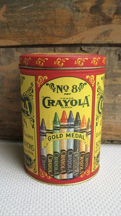 Vintage Crayola Crayons Gold Metal Tin Replica