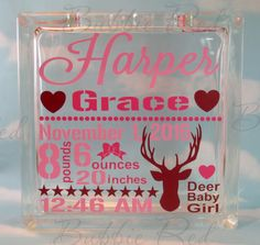 Baby Girl Glass Block Piggy Bank Camo Hunting by BubbieRed on Etsy