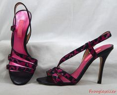 Betsey Johnson womens sandals heels leather sole shoes 6.5 M pink & black fabric #BetseyJohnson #heels #womensshoes #womensfashion