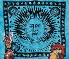 Psychedelic Celestial Tapestry Sun & Moon by jaipurihandicraft, $21.99