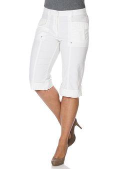 Typ , Stretch-Hose, |Material , Sommerware, |Materialzusammensetzung , 97% Baumwolle, 3% Elasthan, |Passform , Bequeme, gerade Form, |Länge , 3/4-Länge, |Bund , Breite Gürtelschlaufen, |Vordertaschen , Aufgesetzte Taschen mit Patte, |Innenbeinlänge , 54,5 cm, | ...