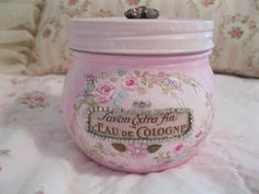 French Perfume Jar!!!  -  love painting bottles and jars and this one is very frenchy!!!   -    http://www.ebay.com/itm/390889240891?ssPageName=STRK:MESELX:IT&_trksid=p3984.m1555.l2649