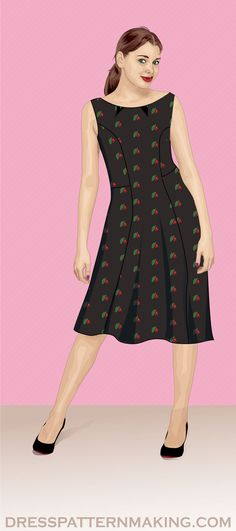 View All Dresses (Instructions) - Dress Patternmaking Princess Line Dress, Make Your Own, How To Make, Pattern Drafting, Dress Sewing Patterns, Flare Skirt, Step By Step Instructions, High Neck Dress, Theory