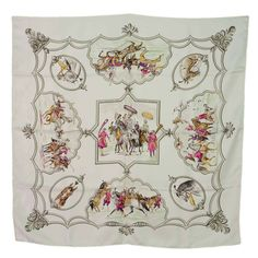 """HERMES White & Grey """"Les Chavaux Des Empereurs Moghols"""" 90cm Silk Scarf 
