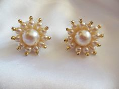 Vintage Earrings With Gold Tipped Pearls by VJSEJewelsofhope, $7.00