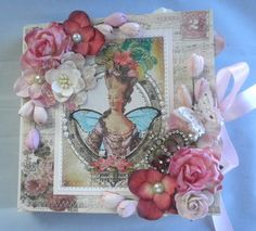 Twag Shabby Chic Vintage Premade Scrapbook Lace Album by Becky | eBay
