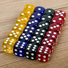Set Rounded Corners Four-Color Transparent Dice (Transparent Blue, Green, Yellow, Red All Round Corner, Maze, Card Games, Blue Green, Yellow, Entertaining, Crystals, Credit Cards, Chess