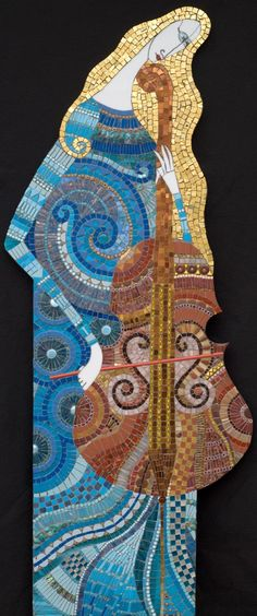 "Solo 19"" x 49"" glass, porcelain, stone, millefiori, gold, beads 2006"