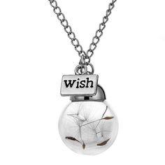 """Make A Wish"" Dandelion Seed in Glass Necklace – GJewels"