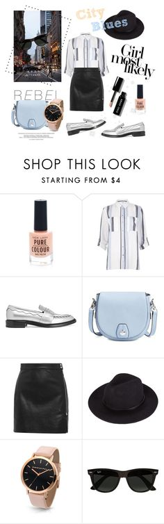 """""""City Blues"""" by laurenleigh-bee ❤ liked on Polyvore featuring New Look, River Island, Christopher Kane, rag & bone, IRO, Ray-Ban and Bobbi Brown Cosmetics"""