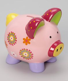 Take a look at this GANZ Pink Pinwheel Flower Piggy Bank on zulily today!