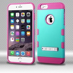 303ba5cd8df0 MYBAT TUFF Trooper Hybrid iPhone 6 6s Plus Case - Teal Green Hot Pink