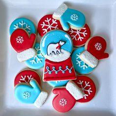 Polar bear winter snow globe cookies