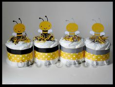 Set Of 4 Mini Bee Diaper Cakes Bumble Cake Mother To