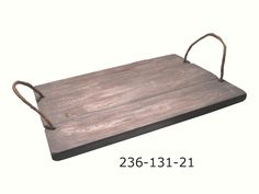 Wooden rectangular plateau with rope handles. Colour: No 21 Old Grey Dimentions: 44cm X 31cm