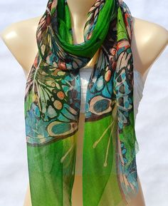 Fashion beautiful silk hand-painted scarves, green butterfly scarf, silk scarf, shawl, softness and comfort women multifunctional attachment on Etsy, $15.00