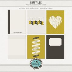 Freebie: Happy Life journal cards from Wild Blueberry Ink