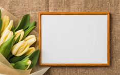 Download wallpapers Yellow tulips, spring flowers, wooden frame, pattern for postcard with tulips, spring, white blank sheet