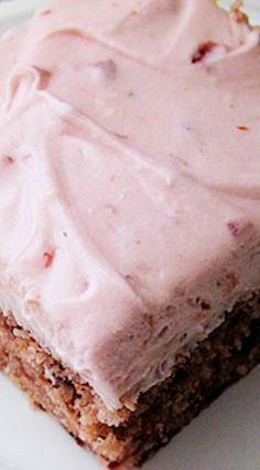Box mix & Cherry Pie Filling - Cherry Cake with Cherry Cream Cheese Frosting ~ Marvelous cherry and almond flavor. 13 Desserts, Cherry Desserts, Cherry Recipes, Delicious Desserts, Cherry Cake Recipe, Frosting Recipes, Cupcake Recipes, Dessert Recipes, Pie Dessert