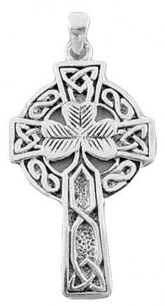 Men's Celtic Jewelry | Handcast Silver Mens Irish Celtic Shamrock Cross Pendant FREE Chain ...