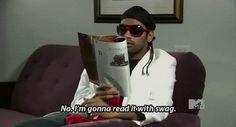 Aziz Ansari reading with swag - GIF - Celebs Reading