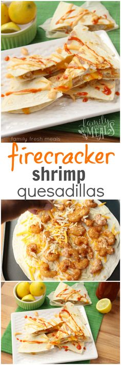 Shrimp Quesadillas These Firecracker Shrimp Quesadillas are so easy to make and taste amazing!These Firecracker Shrimp Quesadillas are so easy to make and taste amazing! Seafood Recipes, Mexican Food Recipes, Dinner Recipes, Cooking Recipes, Healthy Recipes, Mexican Dishes, Cooking Ideas, Easy Recipes, Low Carb Shrimp Recipes