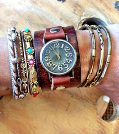 Bracelet Leather Cuff Watch Bohemian Vintage Leather Watch Bracelet Antiqued Brass Face   on Ets