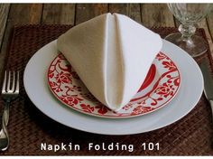 How to Fold a Dinner Napkin ~ The Pyramid Fold from NoblePig.com