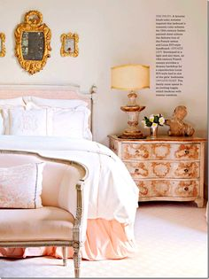 Perfectly pink bedroom via Better Homes Gardens. this is the feel Im going for (although less formal) soft and feminine. Cozy Bedroom, Dream Bedroom, Bedroom Decor, Peach Bedroom, Tangerine Bedroom, Feminine Bedroom, Bedroom Ideas, Blush And Gold Bedroom, Pink Master Bedroom