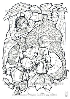 The Dragon, The Knight and the Princess Colouring Page, Adult colouring book page - one page instant PDF by PencilPirates on Etsy