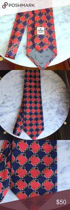 FENDI Silk tie -navy and blue chain detail Excellent condition. Classic design. Fendi Accessories Ties