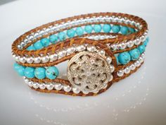 CUSTOM Single Leather Wrap Cuff Turquoise by RopesofPearls on Etsy, $56.00