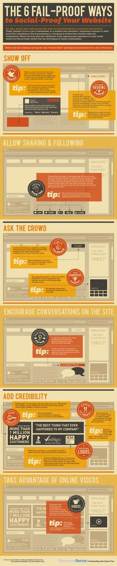 """6 Ways To Social Proof Your Website"" is an infographic with a distinctive and attention-getting look, plus great B2B content. Enjoy! #infographic #website #social"