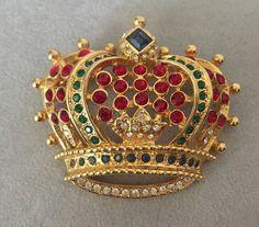 KJL KENNETH JAY LANE CROWN JEWELS OF DUCHESS WINDSOR  GOLDTONE  BROOCH PIN #KennethJayLane