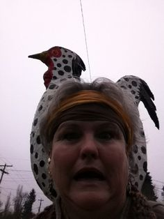 When did you first notice this giant chicken was following you? It was on face book or pinterest I think?  Gabriella Duncan 2o13