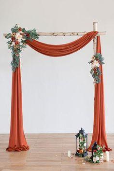 Fall Wedding Arches, Wedding Ceremony Backdrop, Fall Wedding Decorations, Wedding Ideas, Fall Wedding Inspiration, Wooden Wedding Arches, Fall Wedding Table Decor, Burnt Orange Weddings, Foam Roses