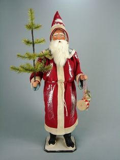 """28,7""""Paper mache*German  Santa* candy container *(red)by Paul Turner"""