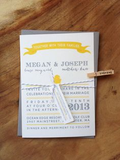 Yellow and gray wedding invitations from asensiblehabit. #ThePerfectPalette